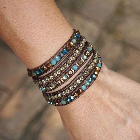 Blue Crystals Mix Wrap Bracelet Boho