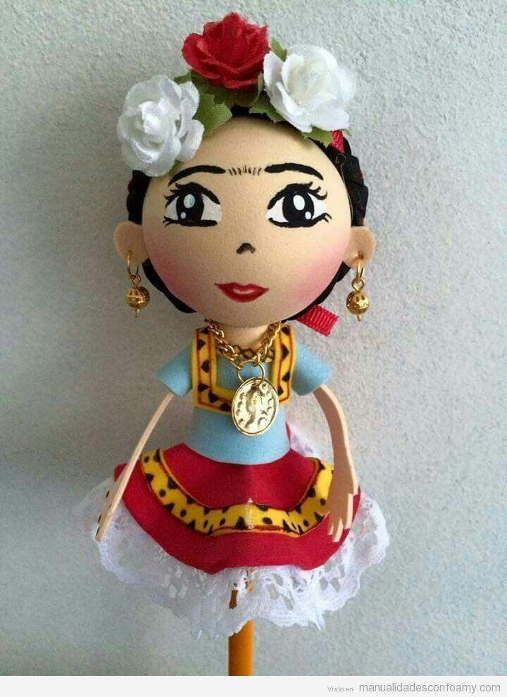 Topper l piz goma eva frida khalo manualidades fomi for Cuartos decorados de frida kahlo