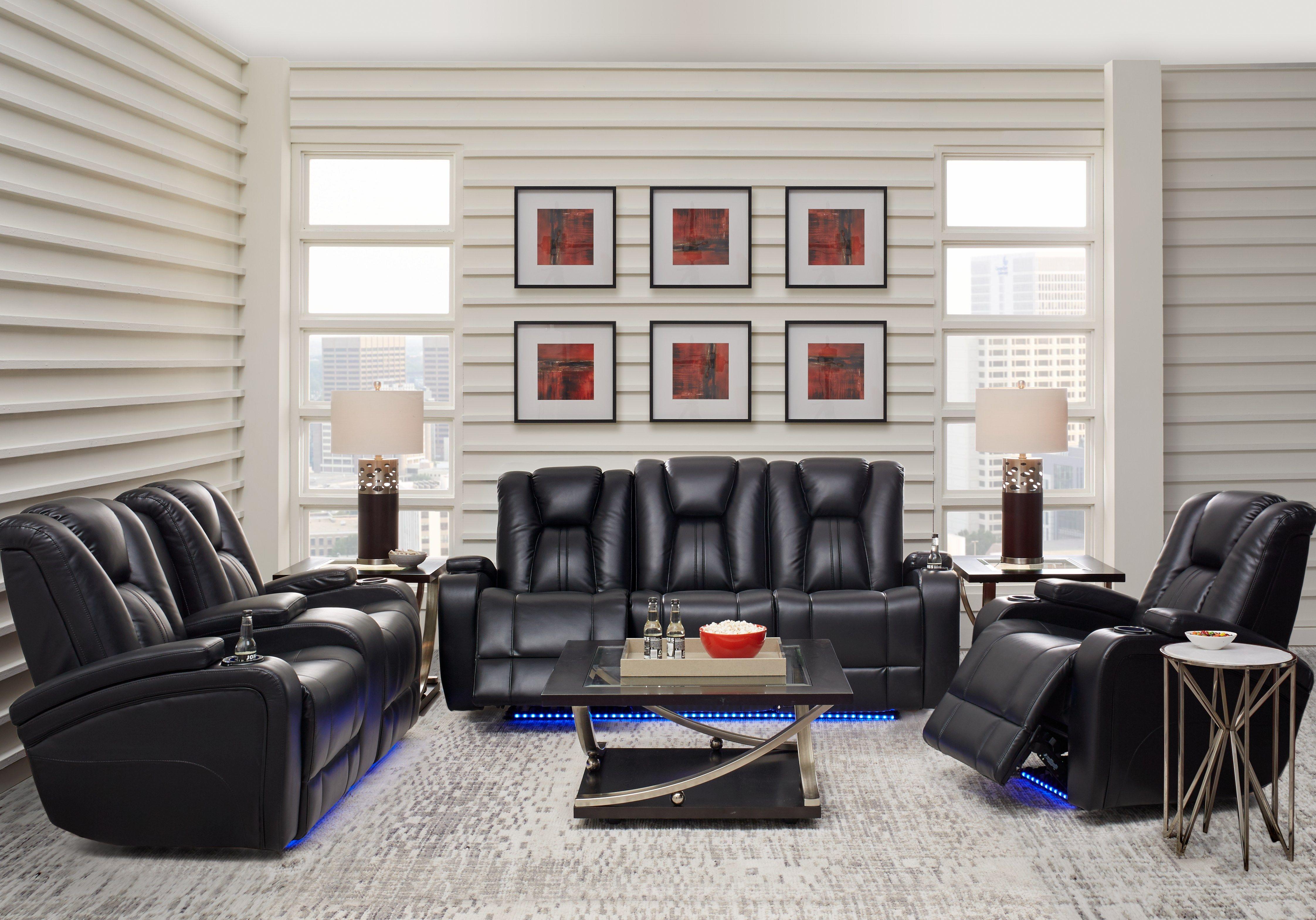 Outstanding Madden Park Black 2 Pc Dual Power Reclining Living Room In Creativecarmelina Interior Chair Design Creativecarmelinacom