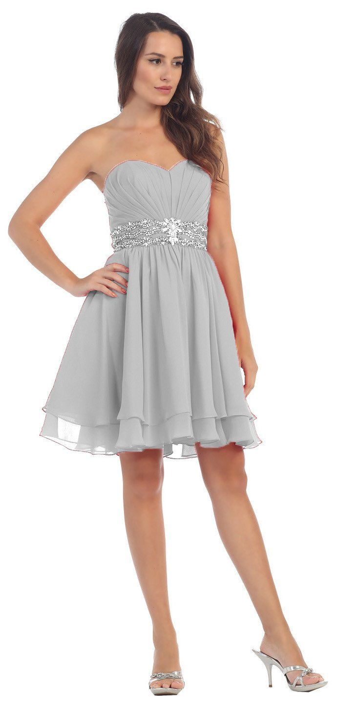 Clearance vneck satin aline dress silver short homecoming