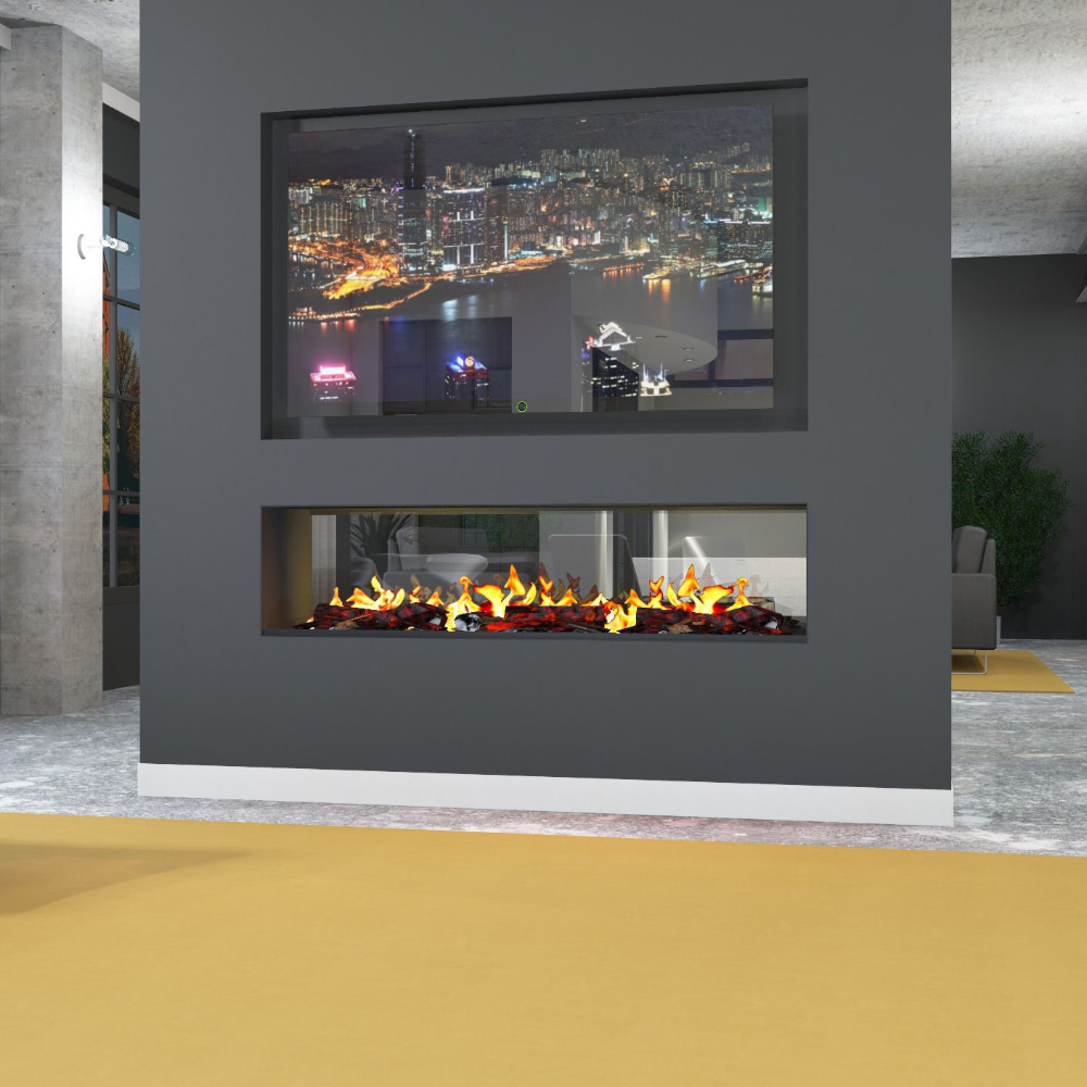 Free Blue Two Sided See Through Electric Fireplace Helkk Intended For Two Sided Elec Double Sided Gas Fireplace Glass Fireplace Double Sided Electric Fireplace