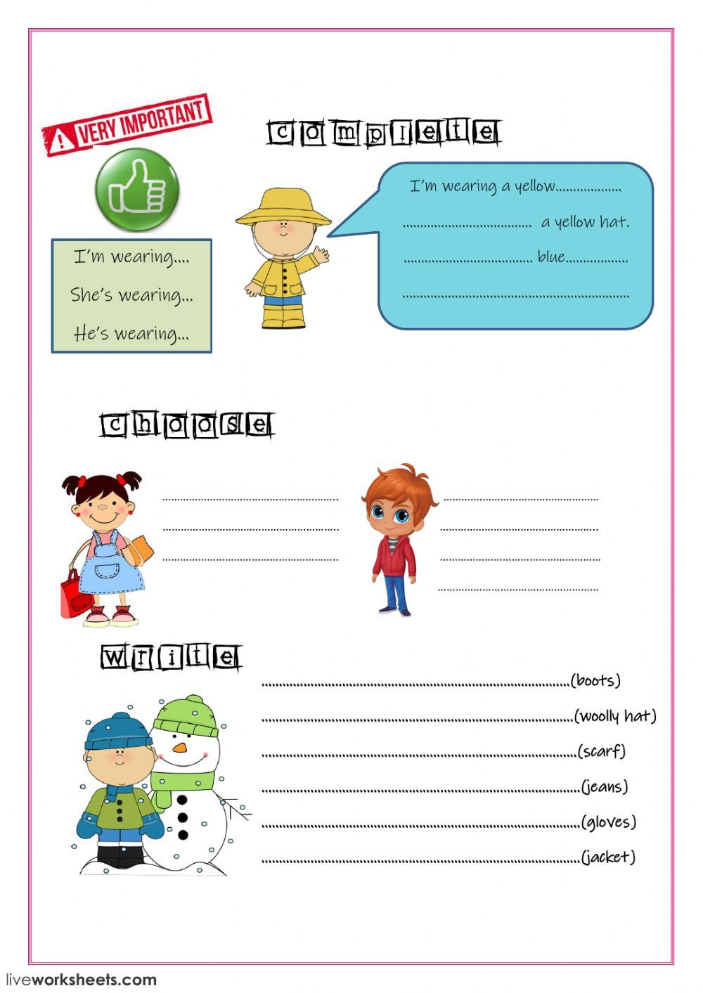 The clothes interactive and downloadable worksheet. You can do the exercises  online …   English as a second language (esl) [ 1413 x 1000 Pixel ]