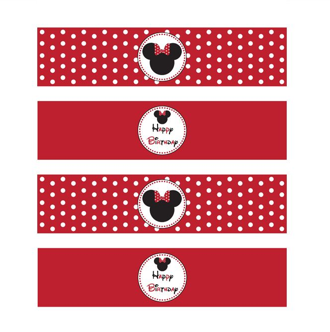 MINNIE MOUSE RED PRINTABLE WATER BOTTLE LABELS Ellau0027s bday - water bottle label template