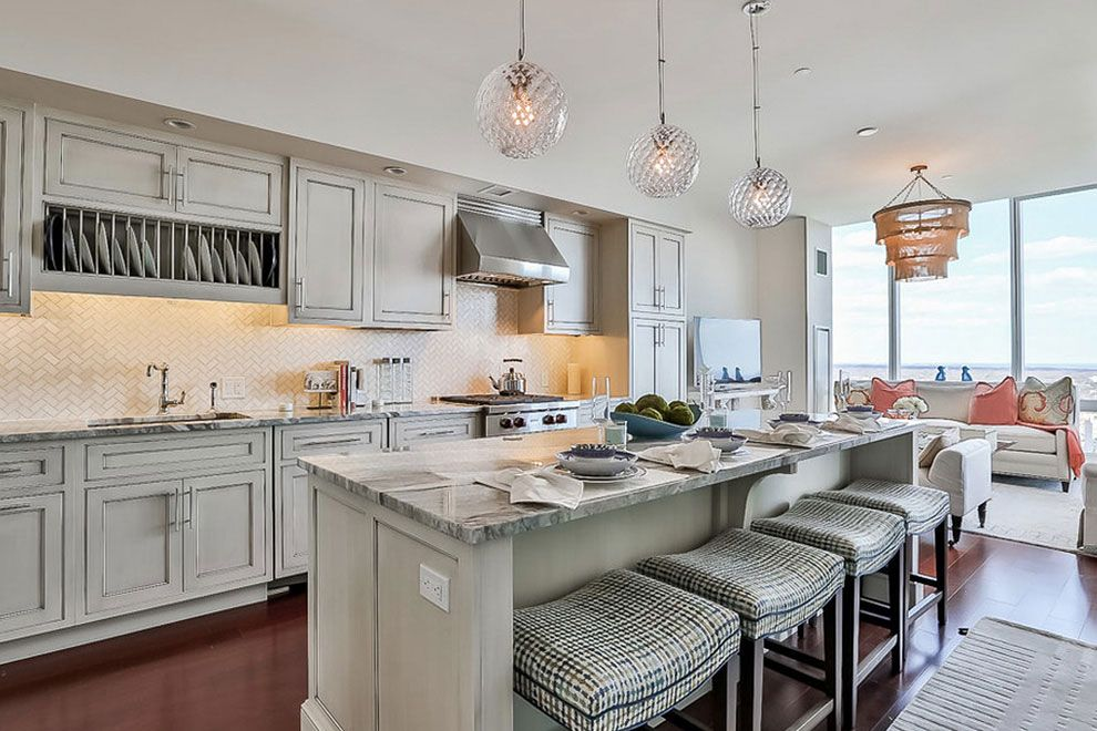 brown fantasy granite kitchen countertops gray cabinets in ...