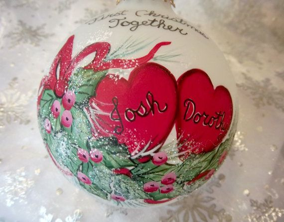 First Christmas Together Ornament  Hearts and by Barbarasartistry   $20.00