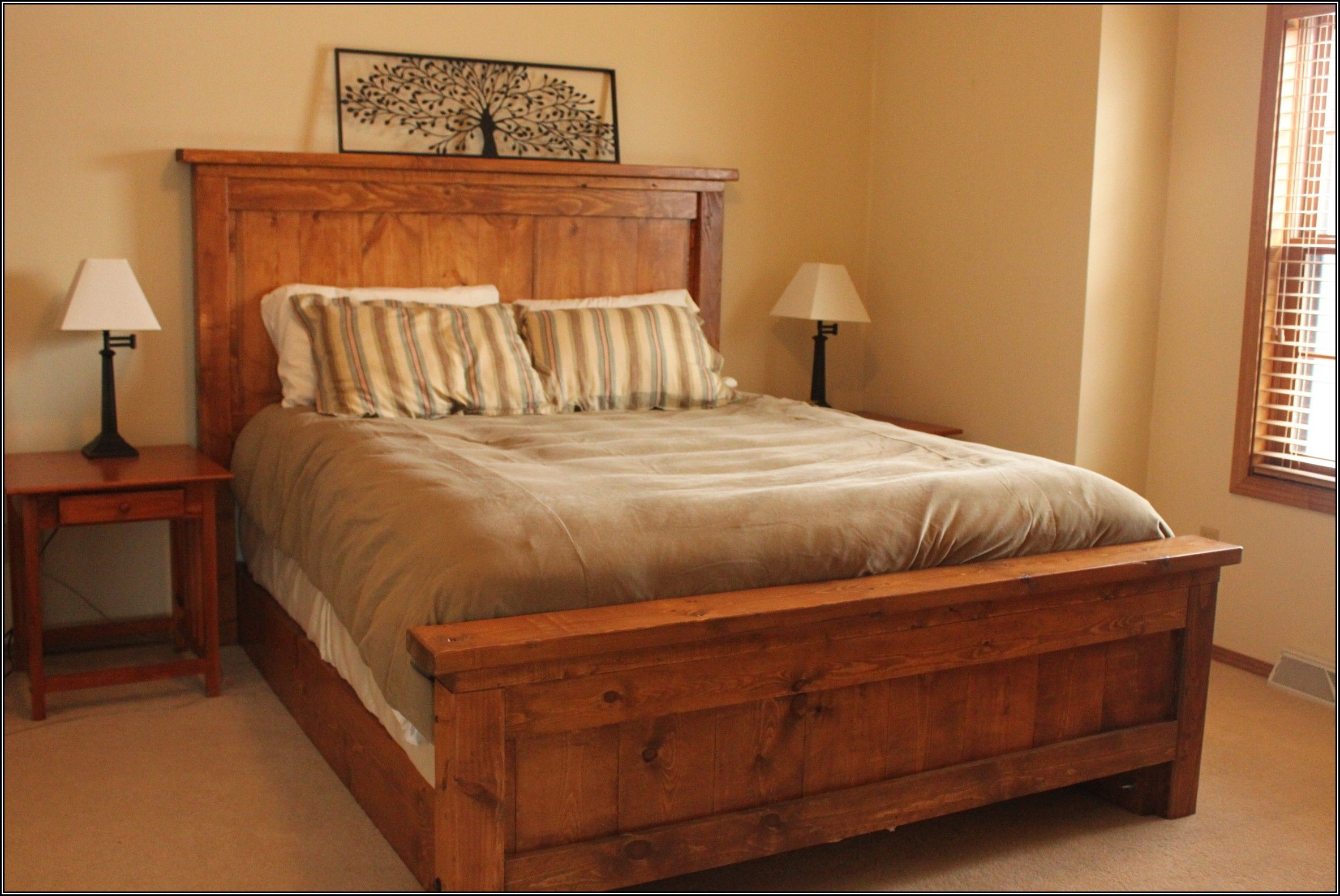 Elegant Full Size Wooden Bed Frame With Headboard Bedroom