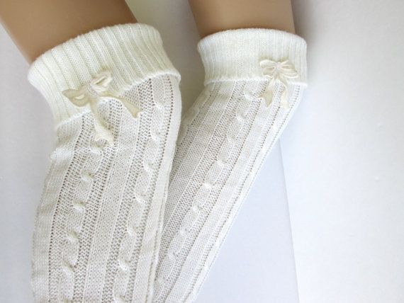 Knitted Leg Warmers in white  Boot Cuffs Knee by knitwit321
