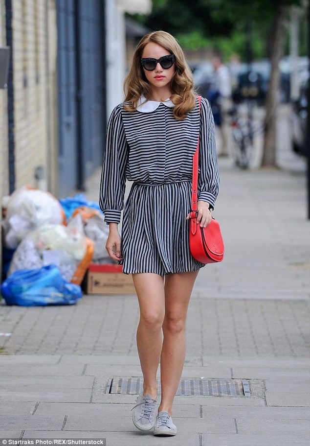 Pins on parade: Turning heads as she ran errands, the model, 24, looked leggy in a demure ...