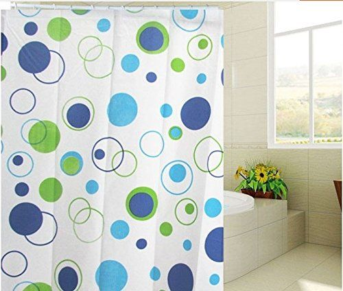 Waterproof And Mildew Resistant Thickening PEVA Environmental Bathroom Shower Curtain With Green Circles72x80
