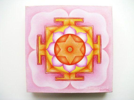 Goddess Lakshmi Yantra Oil Painting Hindu Spiritual By GaneshasRat 25000 Metta Soligard
