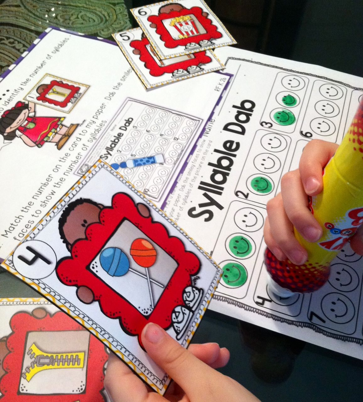 Kindergarten Literacy Centers Using Bingo Dabbers