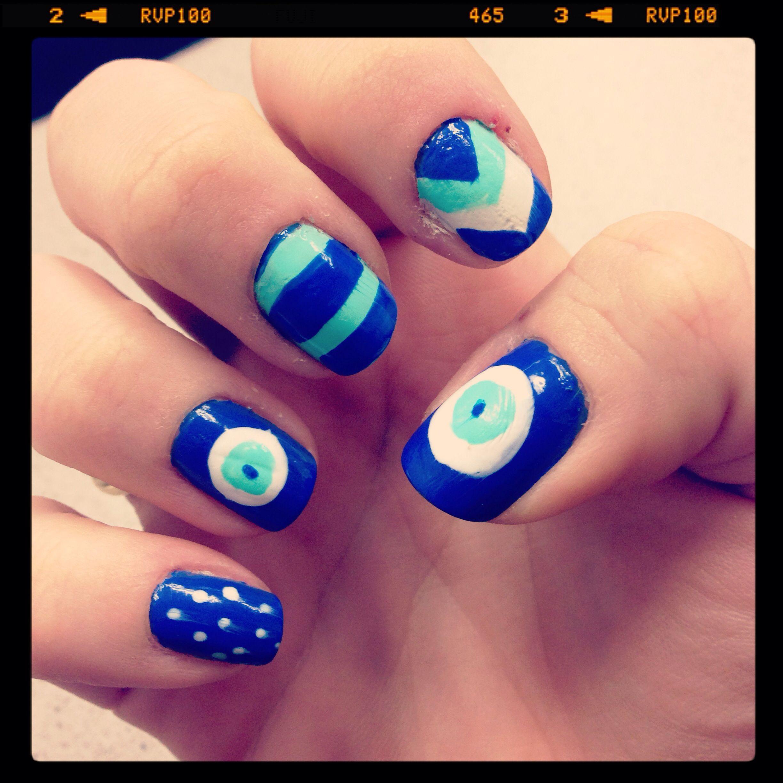 Evil eye nail art | My Nails | Pinterest | Evil eye nails