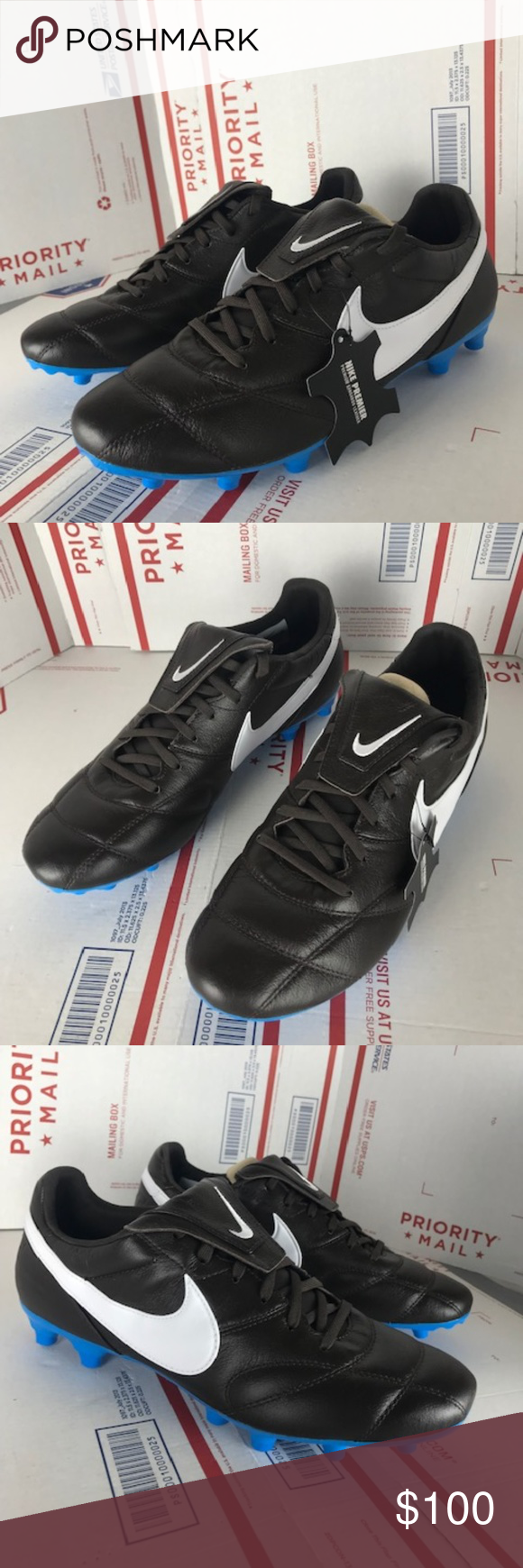 new product 45672 0973e Nike Mens Premier II FG 917803-214 Size 9.5 New Nike Mens Premier II FG  Brown Leather Blue Kangaroo Soccer 917803-214 Size 9.5 Nike Shoes Athletic  Shoes