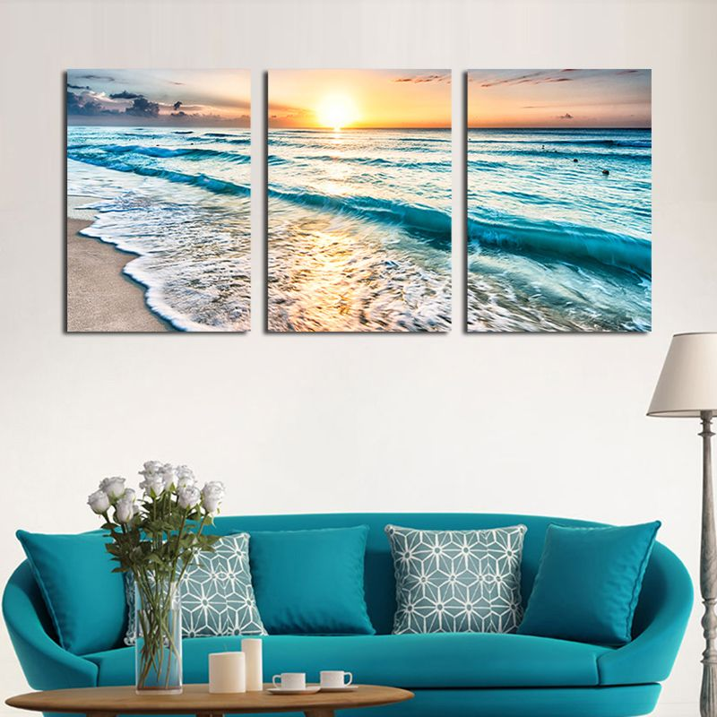 Home Garden Seascape Sunset Triptych Wall Art 3 Panel Sea Waves Photography Frameless Painting Set Print Triptych Wall Art Home Decor Gallery Wall