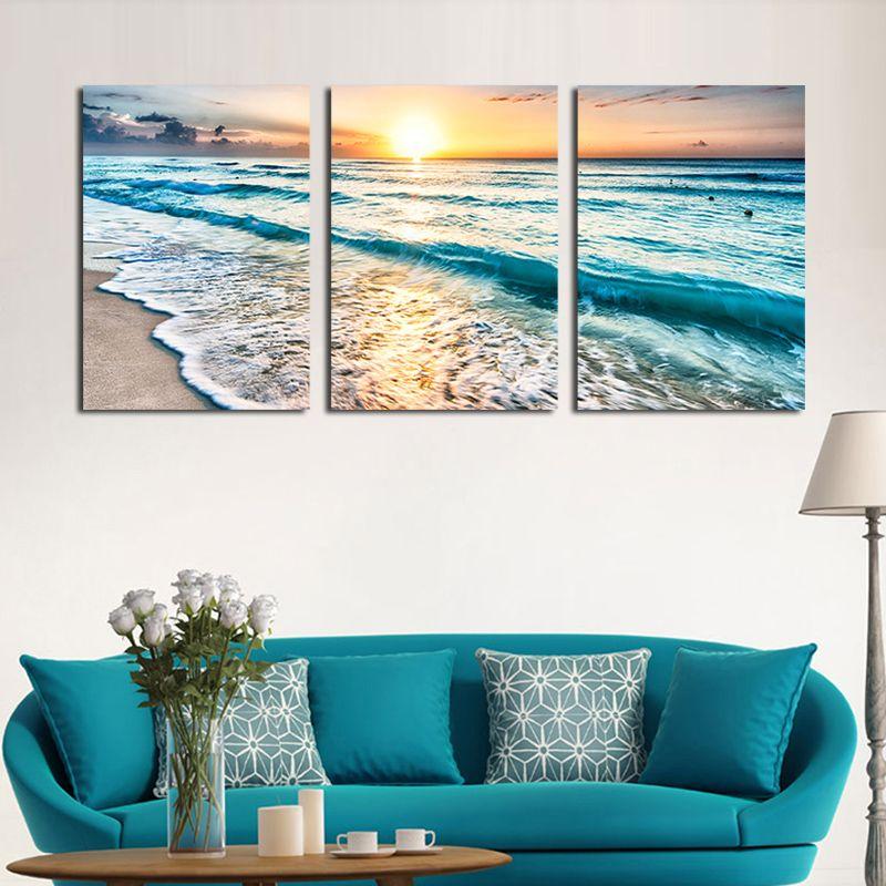 Home Garden Seascape Sunset Triptych Wall Art 3 Panel Sea Waves