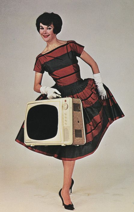 Publicity photograph for the Electrohome Courier portable television, late 1950s