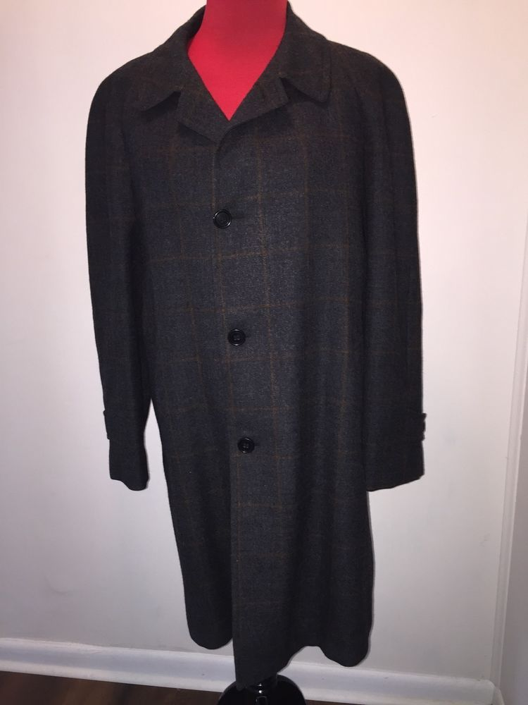 Vtg 60S Men's Plaid Wood Overcoat Coat Lined Crestknit Mint 44-46r