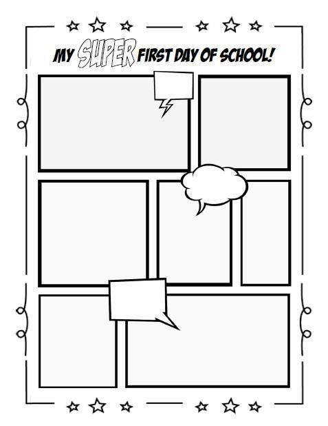 Fun, FREE, printable worksheet for those of you doing a superhero theme! You can is part of Writing activities, First day of school, Writing activities for preschoolers, Elementary writing activities, Kindergarten writing activities, Comic book template - Fun, FREE, printable worksheet for those of you doing a superhero theme! You can print it here www mpmschoolsupp…