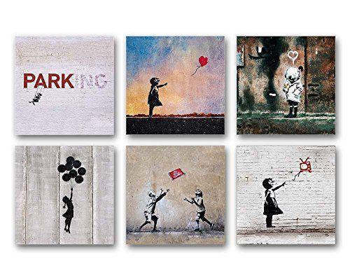 Banksy Bilder Set A, 6-teiliges Bilder-Set jedes Teil 29x29cm