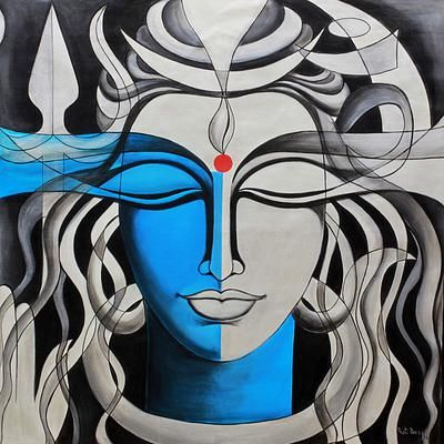 Shiva Mighty Lord Shiva Signed Indian Painting Of Hinduism