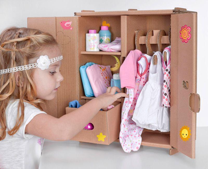 Juguetes de carton armario 2 muneco cardboard toys casas - Armarios para guardar juguetes ...
