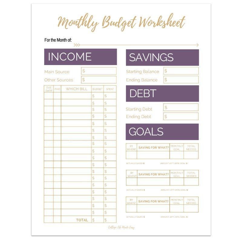 Editable Monthly Budget Worksheets (Set of 3) - sample personal budget spreadsheet