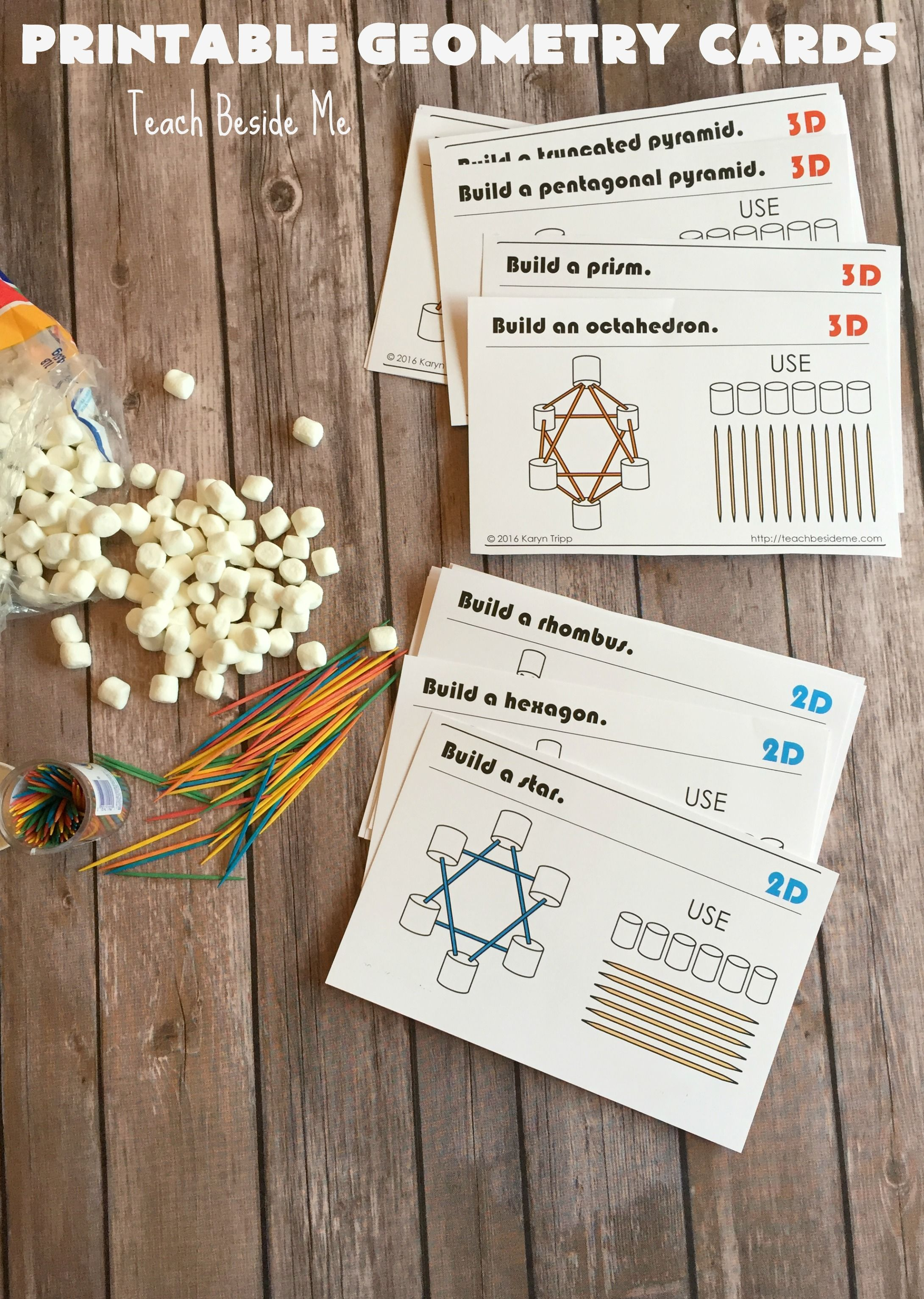 22 Printable Marshmallow And Toothpick Geometry Cards