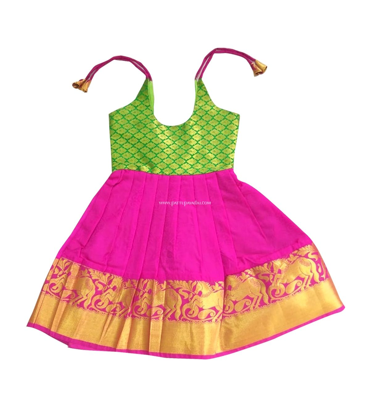 1c51177aa8b9a Traditional pure silk frock for 1-year kids in attractive pink and green  color. www.pattupavadai.com/product/pure-silk-kids-frock-pink-and-green  #pattufrock ...