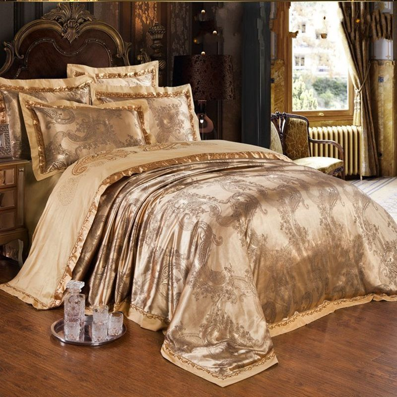 Gold Jacquard Silk Comforter/duvet Cover King Queen 4pcs Luxury Satin Bed  Sheet Linen Bedclothes