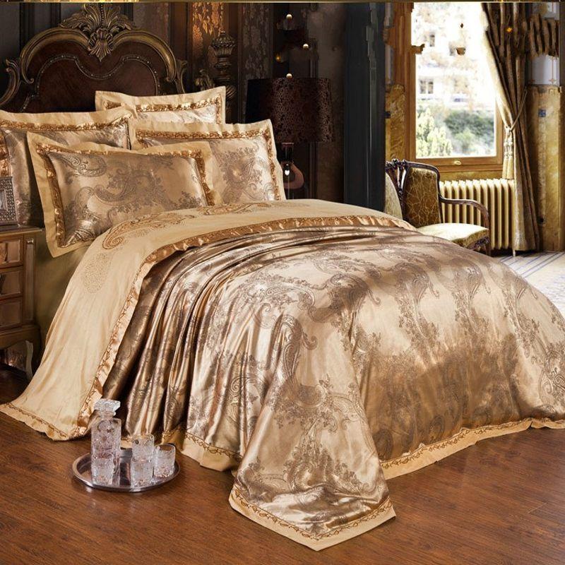 gold jacquard silk cover king queen luxury satin bed sheet linen bedclothes bedding set home textile