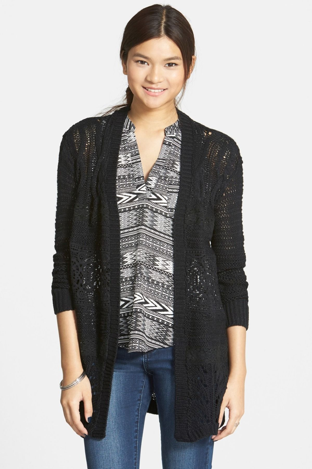 Sun & Shadow | Lace Inset Cable Knit Open Cardigan (Juniors | Lace ...