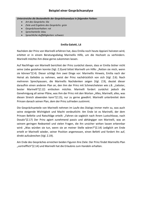 Arbeitsblatt Dialoganalyse Gesprachsanalye Emilia Galotti Unterrichtsmaterial Im Fach Deutsch Unterrichtsmaterial Arbeitsblatter Lehrer
