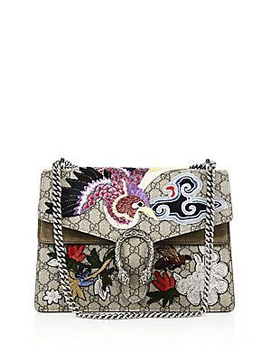 Gucci Dionysus Embroidered GG Canvas Shoulder Bag - Beige- - Size No S