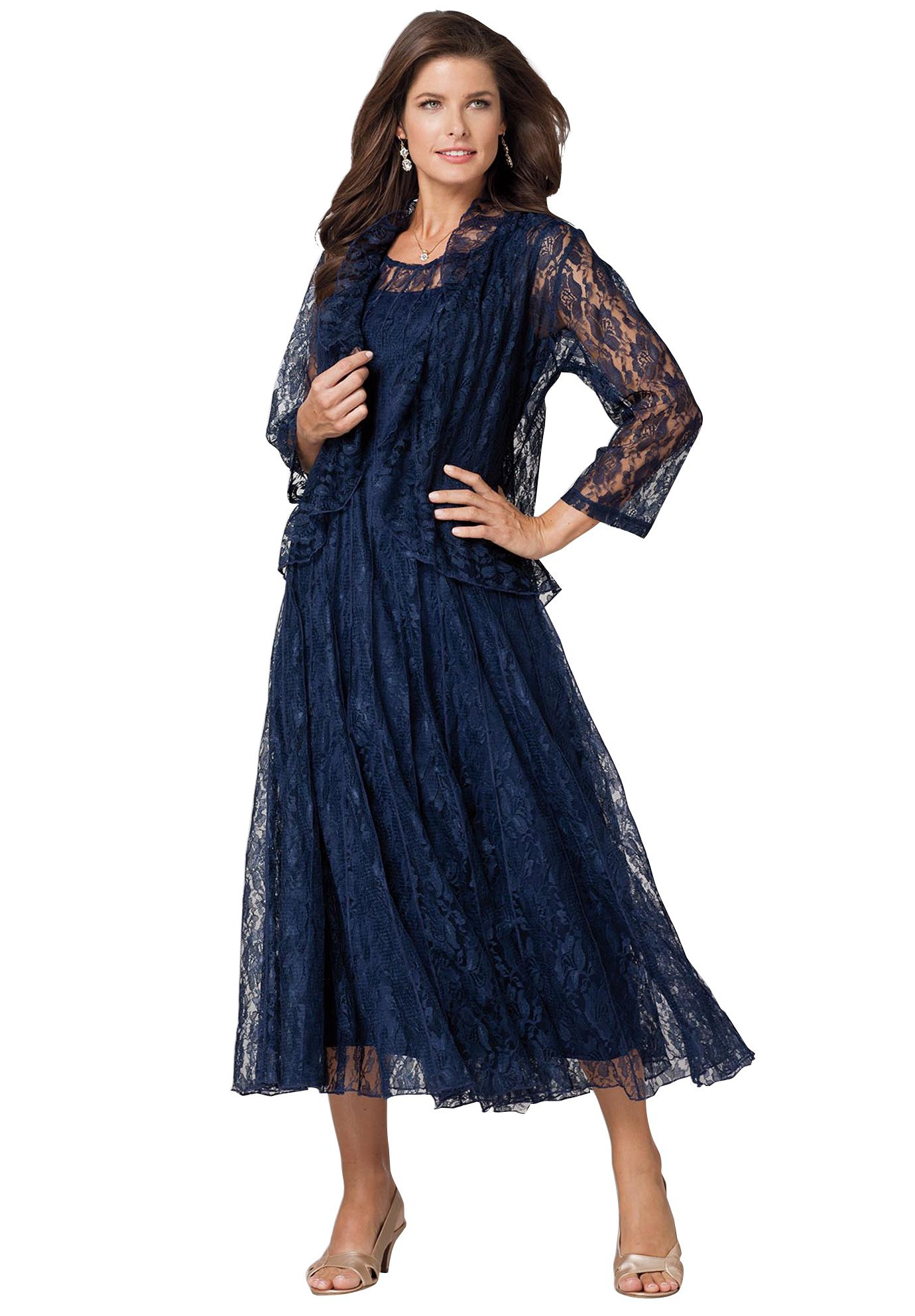 Looking for a formal plus size dress? The Fit and Flare Lace ...