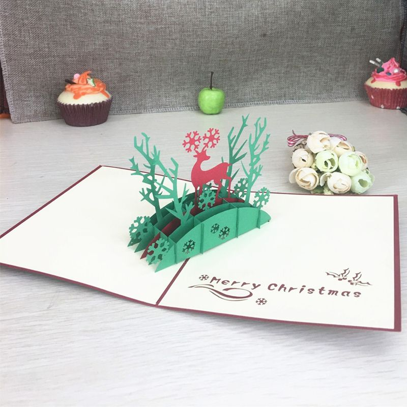 1pcs christmas deer laser cut 3d handmade pop up greeting cards 1pcs christmas deer laser cut 3d handmade pop up greeting cards postcard kirigami thanksgiving day christmas m4hsunfo