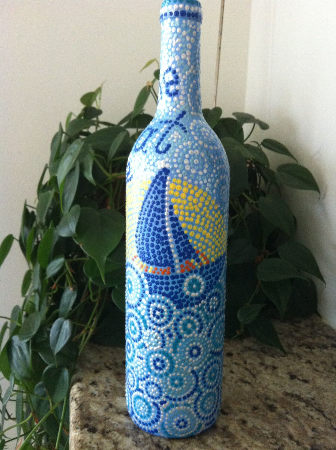 Hand painted wine bottle the great escape via for Painted wine bottles