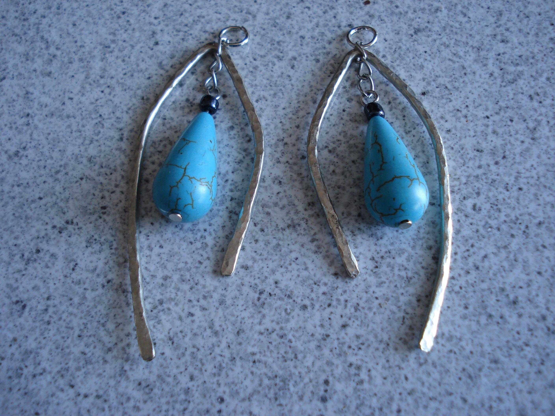 hand hammered aluminium earrings
