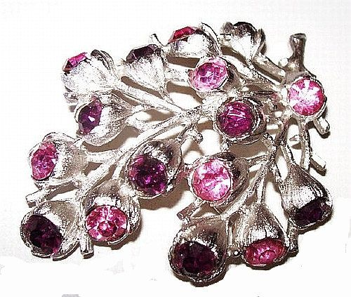 Sarah Cov Rhinestone Brooch Pink Purple by BrightgemsTreasures