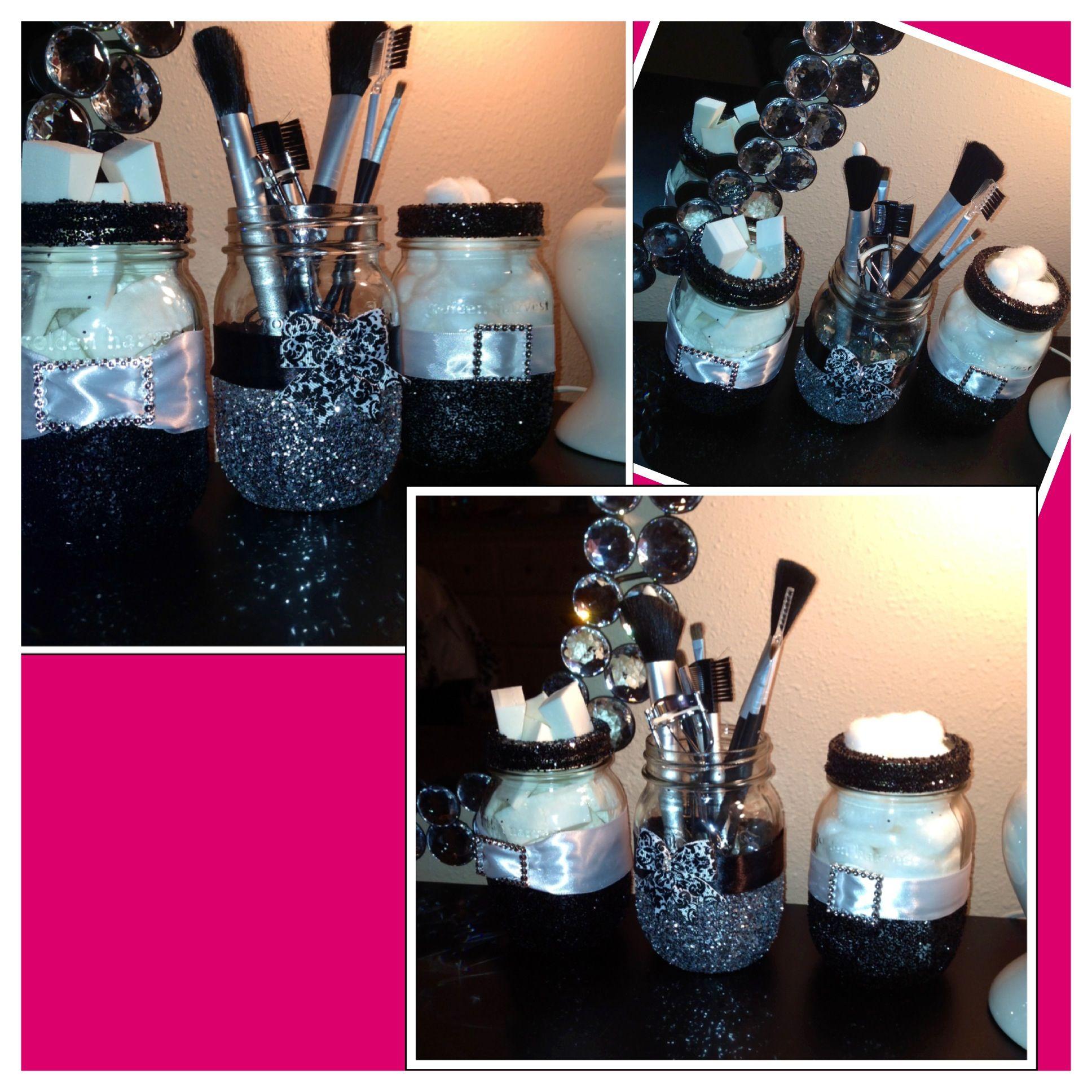 diy makeup brush holder mason jar. diy mason jar with glitter vanity set make up brush holders diy makeup holder