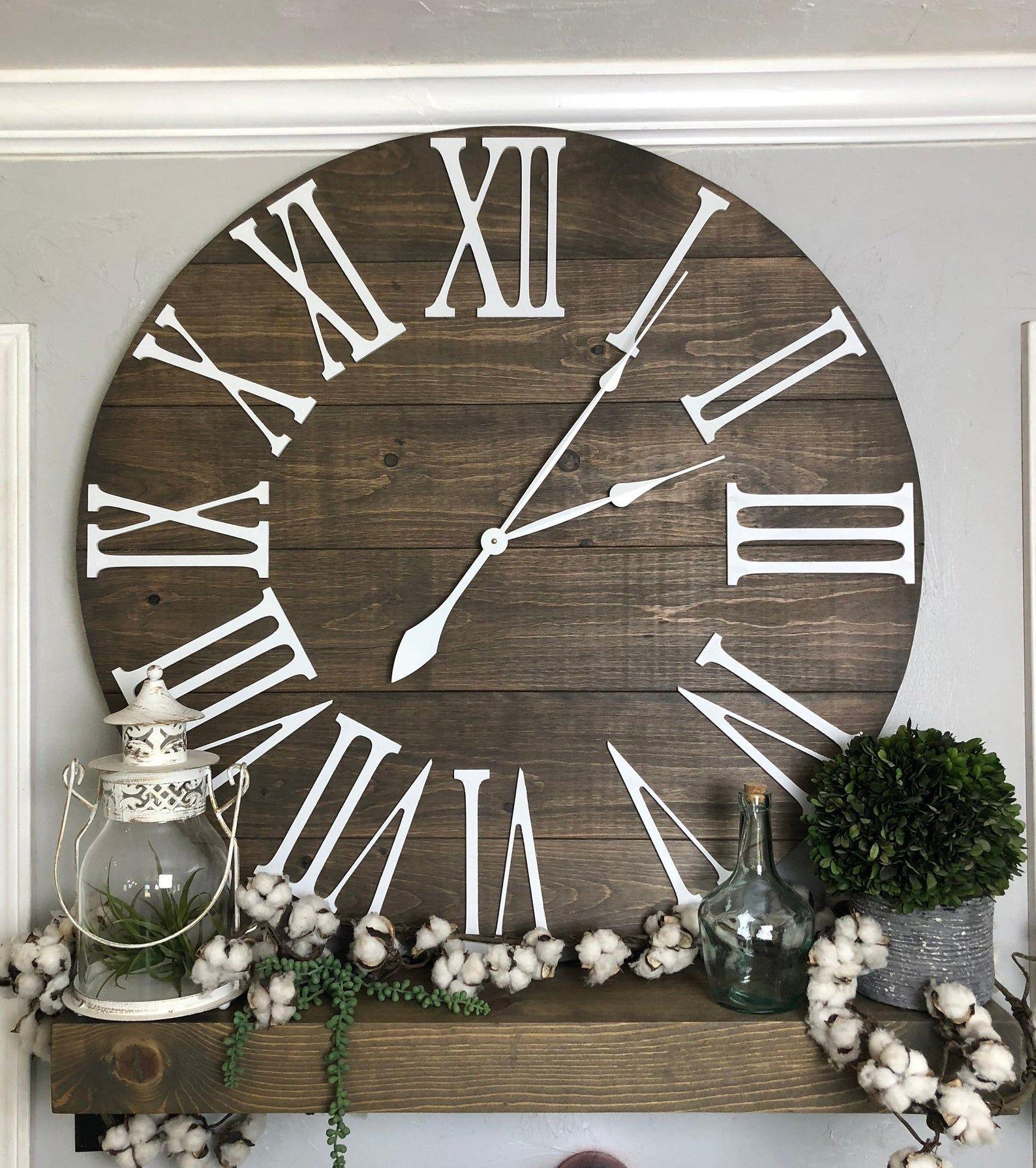 Large Wall Clock The Bailey Roman Numeral Farmhouse Wall Clock