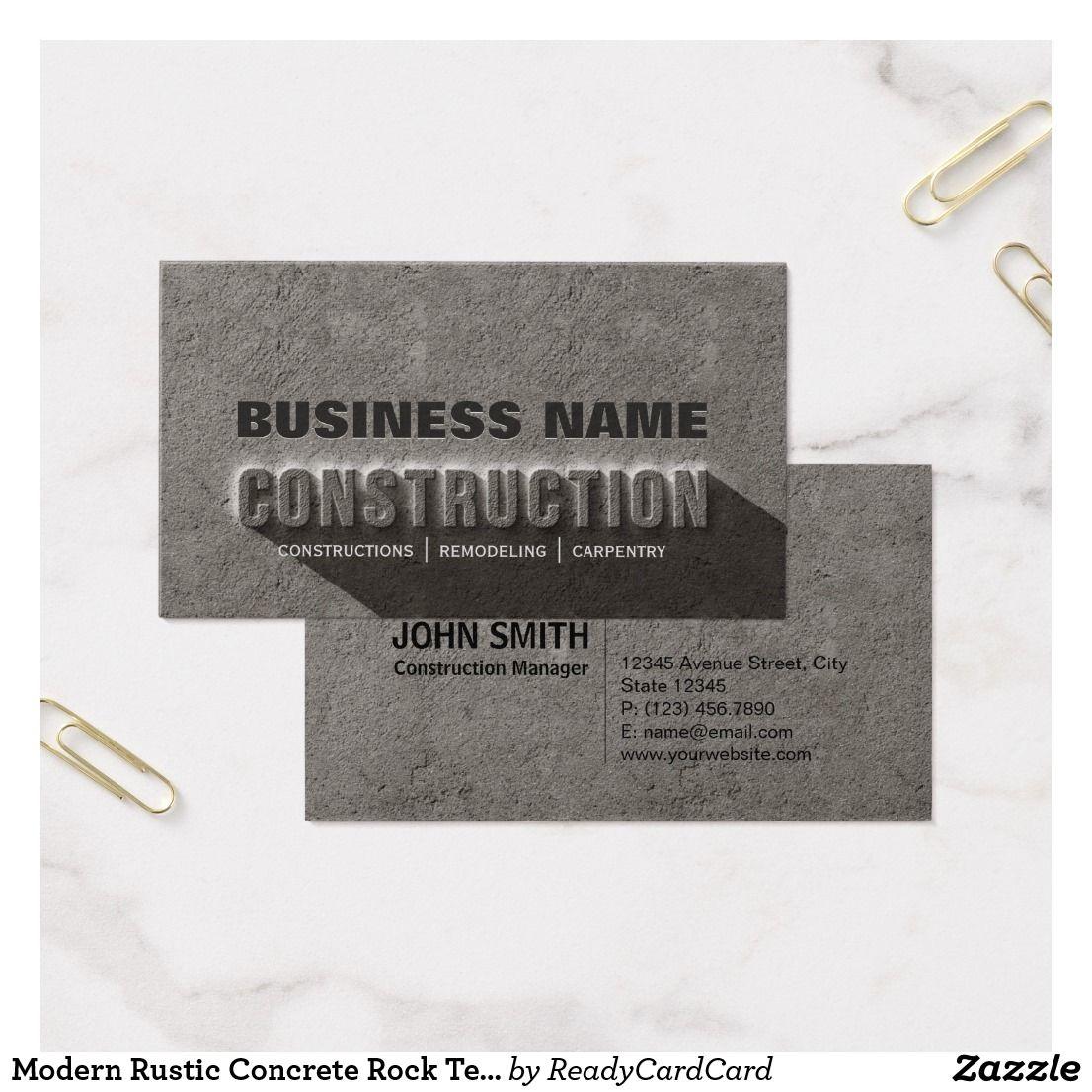 Modern Rustic Concrete Rock Text Construction Business Card Zazzle Com Construction Business Cards Business Cards Remodeling Business