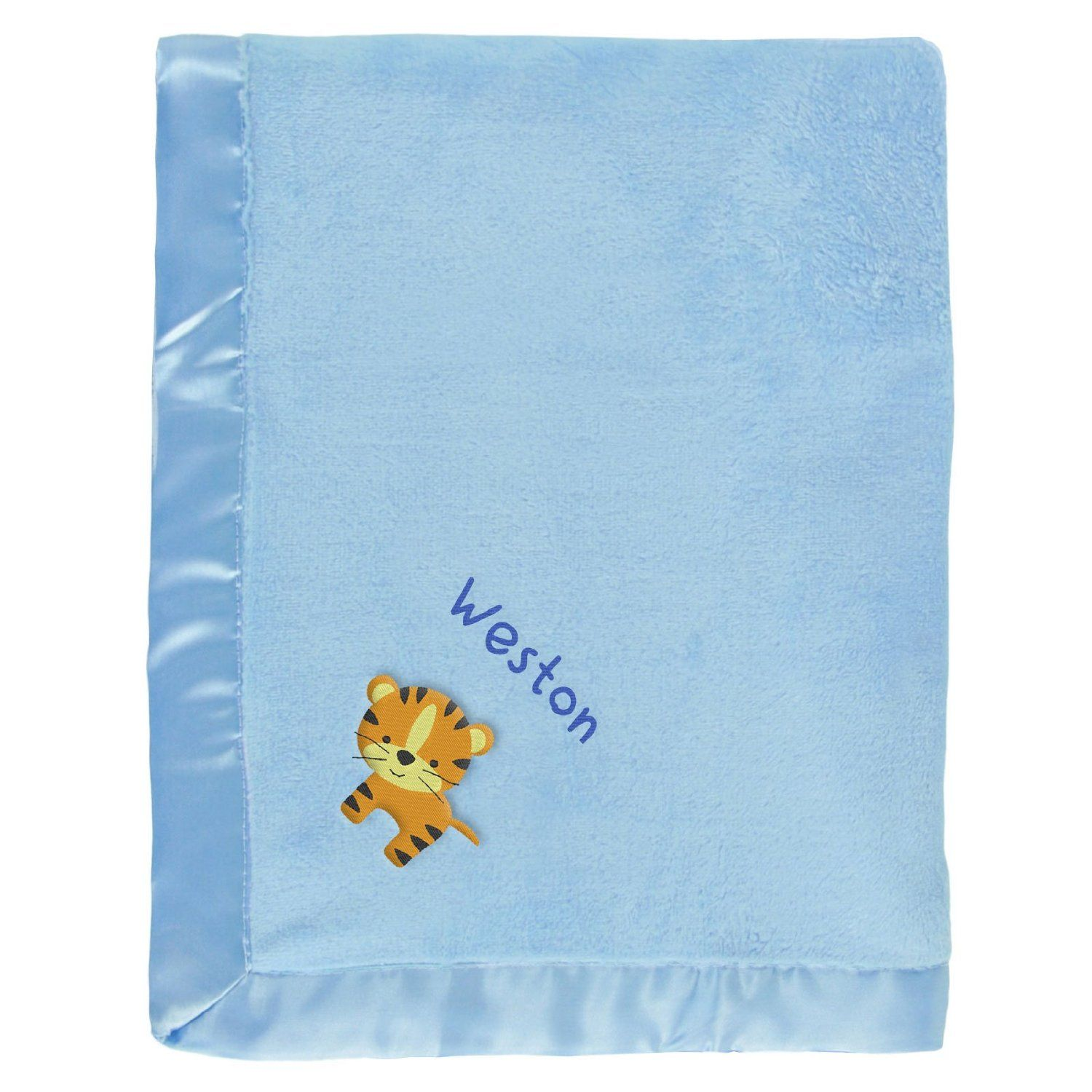 #Weston baby boy blanket in blue with a  little tiger. The name Weston is personalized with unique embroidery in a custom design, perfect as a newborn #baby shower gift.  https://www.babyblankets.com/use/crib/blue-baby-blanket?utm_source=pinterest&utm_medium=pin&utm_campaign=boy_name