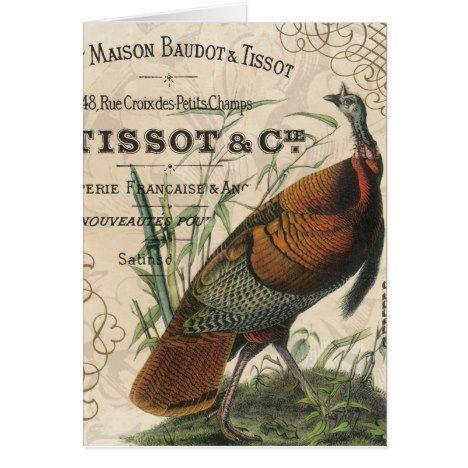 modern vintage fall wild turkey card