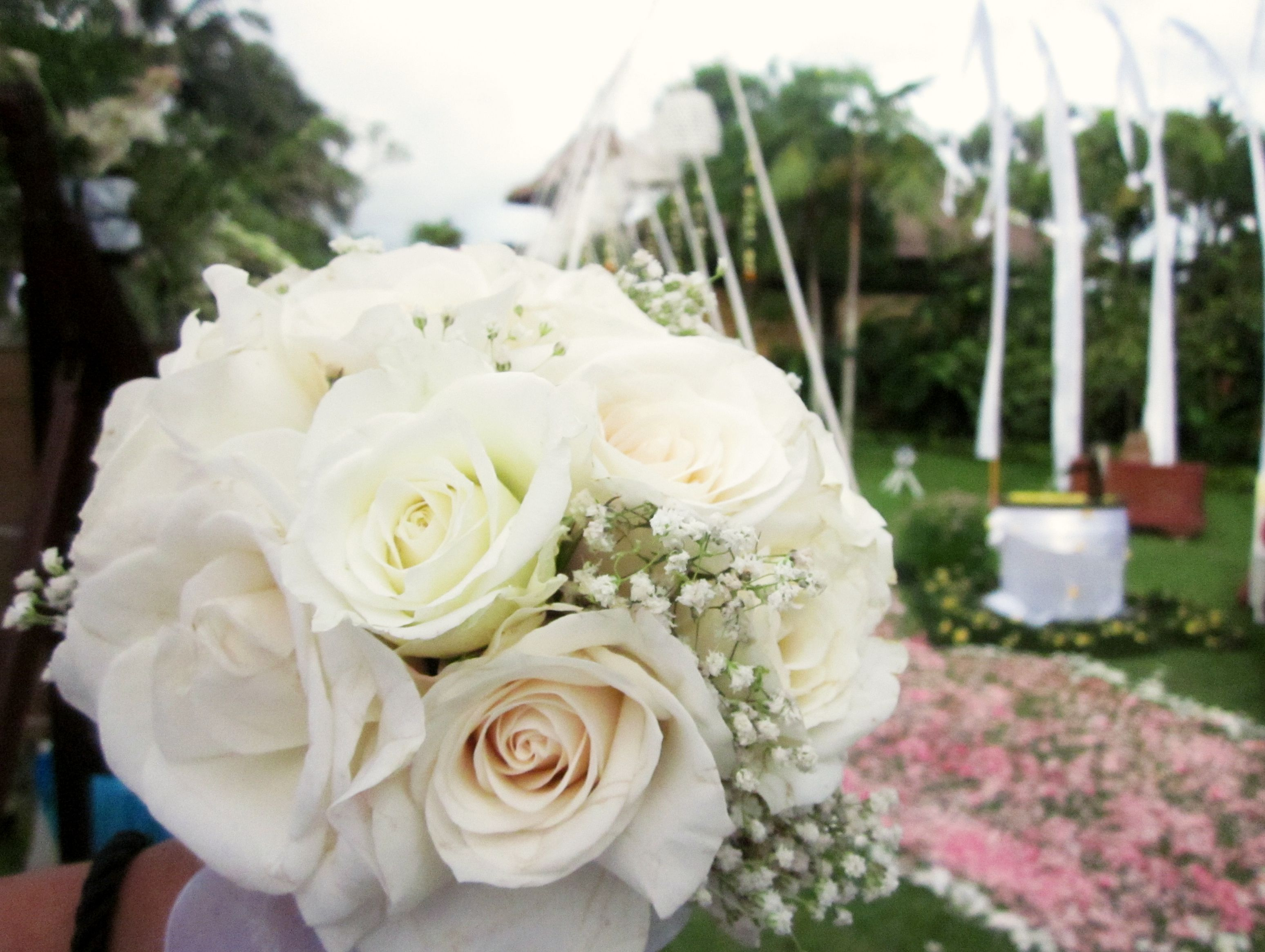 Classic white rose round bouquet for your wedding | Project by ...