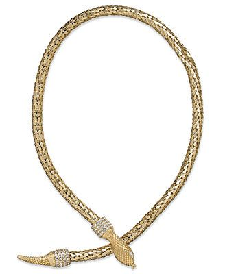 ABS by Allen Schwartz Necklace, Gold-Tone Crystal Snake Collar Necklace