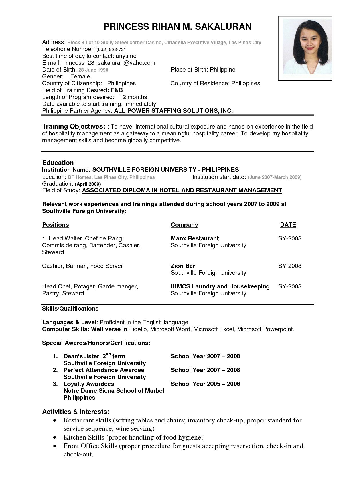 Resume Format In Word For Hotel Management Fresher - BEST ...