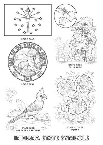 Indiana State Symbols Coloring Page I Hate School Projects
