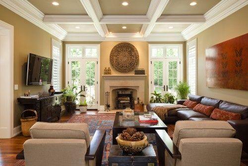 Fireplace In Center Of Doors Tv On Opposite Wall Still Makes Livingroom Layout Living Room Arrangements Family Room Walls