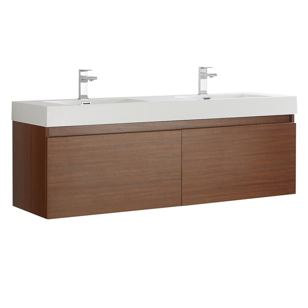 Best Fresca Mezzo 60 In Modern Wall Hung Bath Vanity In Teak 400 x 300