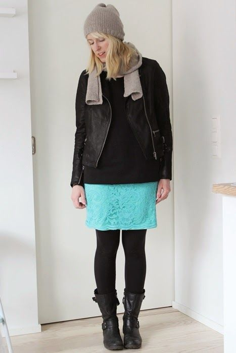 Outfit with turquoise lace skirt and leather jacket /  Kotisaari